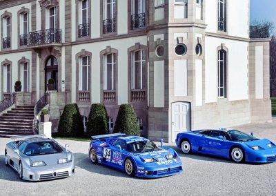 Bugatti EB110 model range. Chateau Jean Molsheim