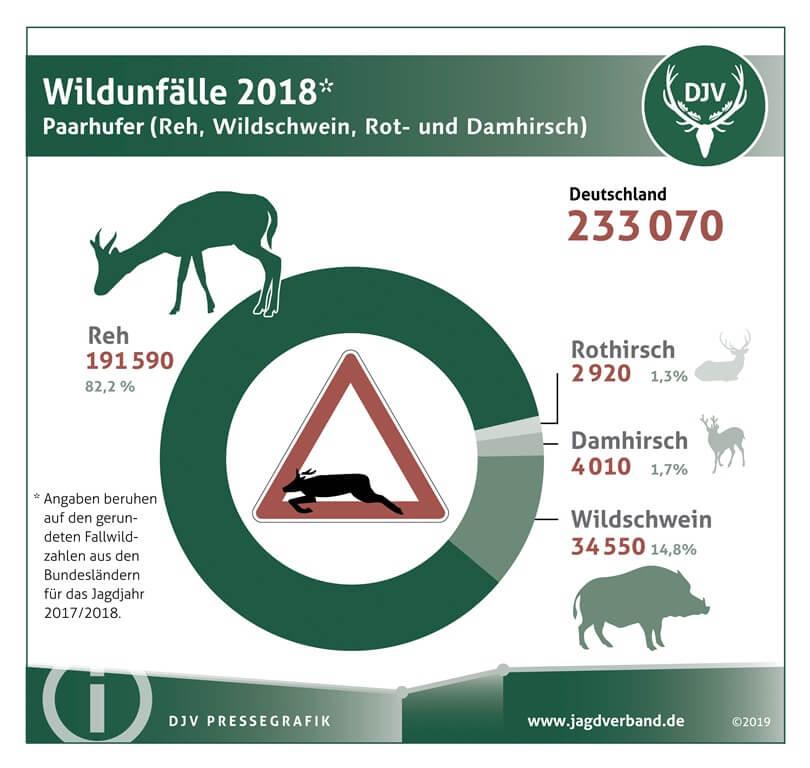 Wildunfälle 2018 Paarhufer Reh, Wildschwein, Rot- und Damhirsch