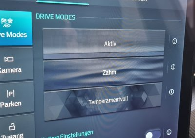 Ford Mustang Mach-E Bildschirm Fahrmodi