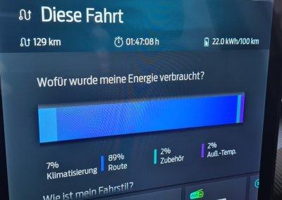 Ford Mustang Mach-E Bildschirm Energieverbrauch