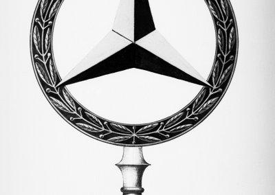 Der Stern im Lorbeerkranz, eine Kombination der Markenzeichen der Daimler-Motoren-Gesellschaft und der Firma Benz & Cie.