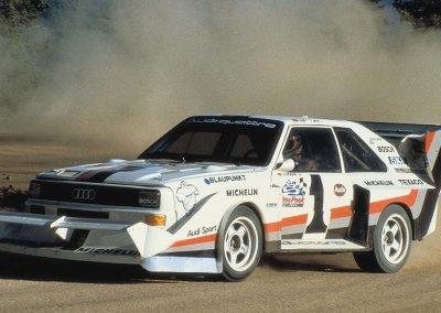 1987: Walter Röhrl sorgt mit dem Audi Sport quattro S1 für den dritten Audi Sieg in Folge am Pikes Peak
