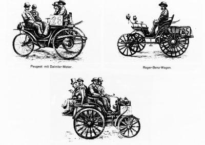 Beim ersten Automobilwettbewerb der Welt von Paris nach Rouen am 22. Juli 1894 über 126 Kilometer erhalten Wagen mit Daimler-Motoren den ersten Preis