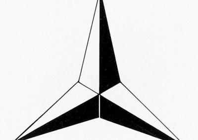 Dreizackiger Mercedes-Stern, am 24. Juni 1909 von der Daimler-Motoren-Gesellschaft als Markenzeichen beim Kaiserlichen Patentamt angemeldet.