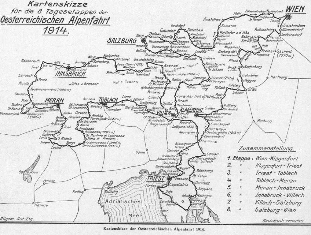 Die 1914er-Auflage der Alpenfahrt führte in acht Tagesetappen über eine Gesamtdistanz von 2.932 Kilometern.