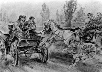 Erste Automobil-Wettfahrt von Paris nach Rouen, 22. Juli 1894 Émile Roger, der erste Auslands-Vertriebspartner für Benz-Fahrzeuge, kommt auf dem Benz Vis-à-Vis auf Position 14 an