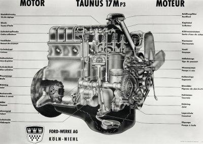 Ford Taunus 17 M P3 Motor Schnittzeichnung, 1960-1964