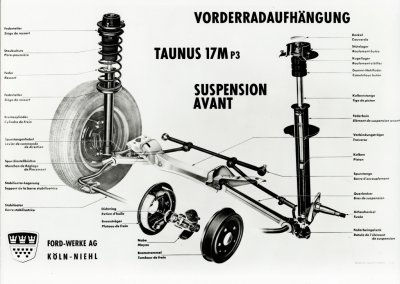 Ford Taunus 17 M P3 Vorderradaufhängung (Zeichnung), 1960-1964