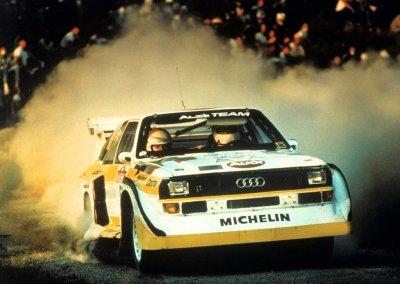 1985: Walter Röhrl gewinnt mit dem Audi Sport quattro S1 die Rallye San Remo