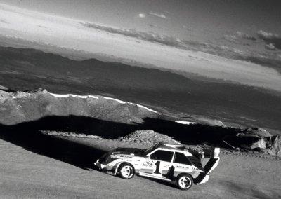 Walter Röhrl mit dem Sport quattro S1 auf dem Pikes Peak