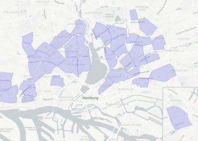 Oply Hamburg Nachbarschaften zum Start © mapbox © openstreetmaps