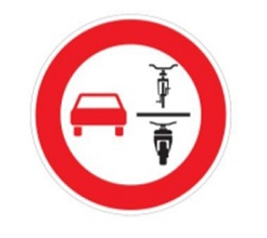 Verkehrszeichen Verbot des Überholens von einspurigen und mehrspurigen Fahrzeugen für mehrspurige Kraftfahrzeuge und Krafträder mit Beiwagen